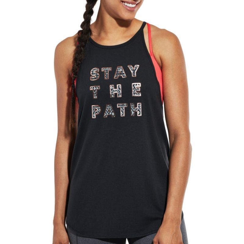2341b4a81e97e Calia by Carrie Underwood Women s Flow High Neck Stay The Path Graphic Tank  Top
