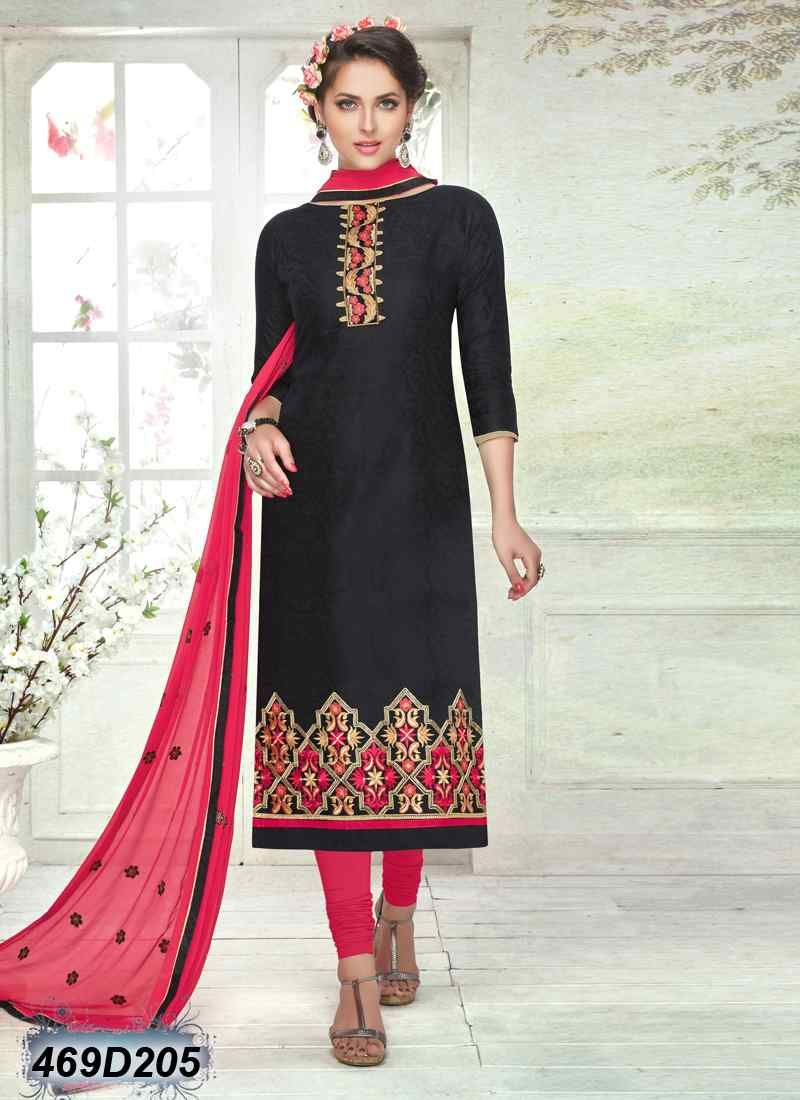 bedaf022c6 Decent Black Coloured Brasso Cotton Unstitched Salwar Suit | Casual ...