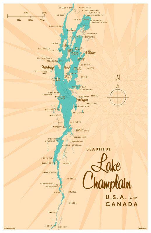 Lake Champlain Map Art Print Poodle Lake Champlain Lake - Lake-champlain-on-us-map