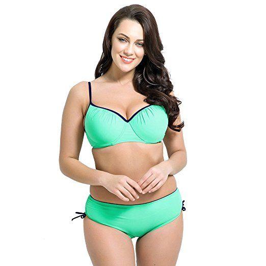 0215df5b94d81 Amazon.com: Runbox Women's Plus Size Pleated Push up Two-piece Swimsuit  Swimwear Bikini Set: Clothing