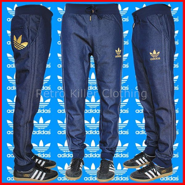 b32d1f979d98 Adidas Originals Cuffed Denim Blue Jeans Tracksuit Bottoms Pants Joggers  Mens UK