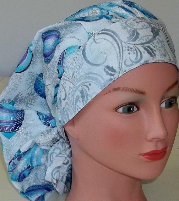 WOMEN/'S BOUFFANT SURGICAL Scrub Hat,BRIGHT FUN BLUE BANDANA
