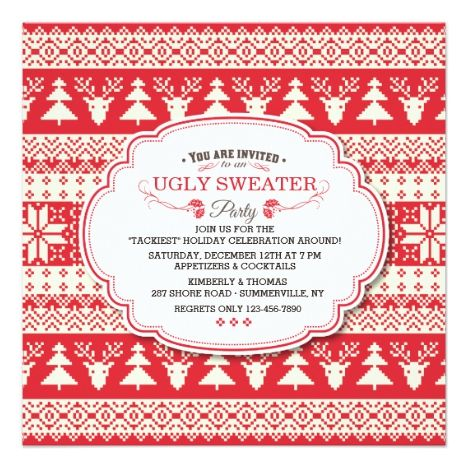 Ugly Sweater Holiday Party Invitation in 2018 Christmas Party