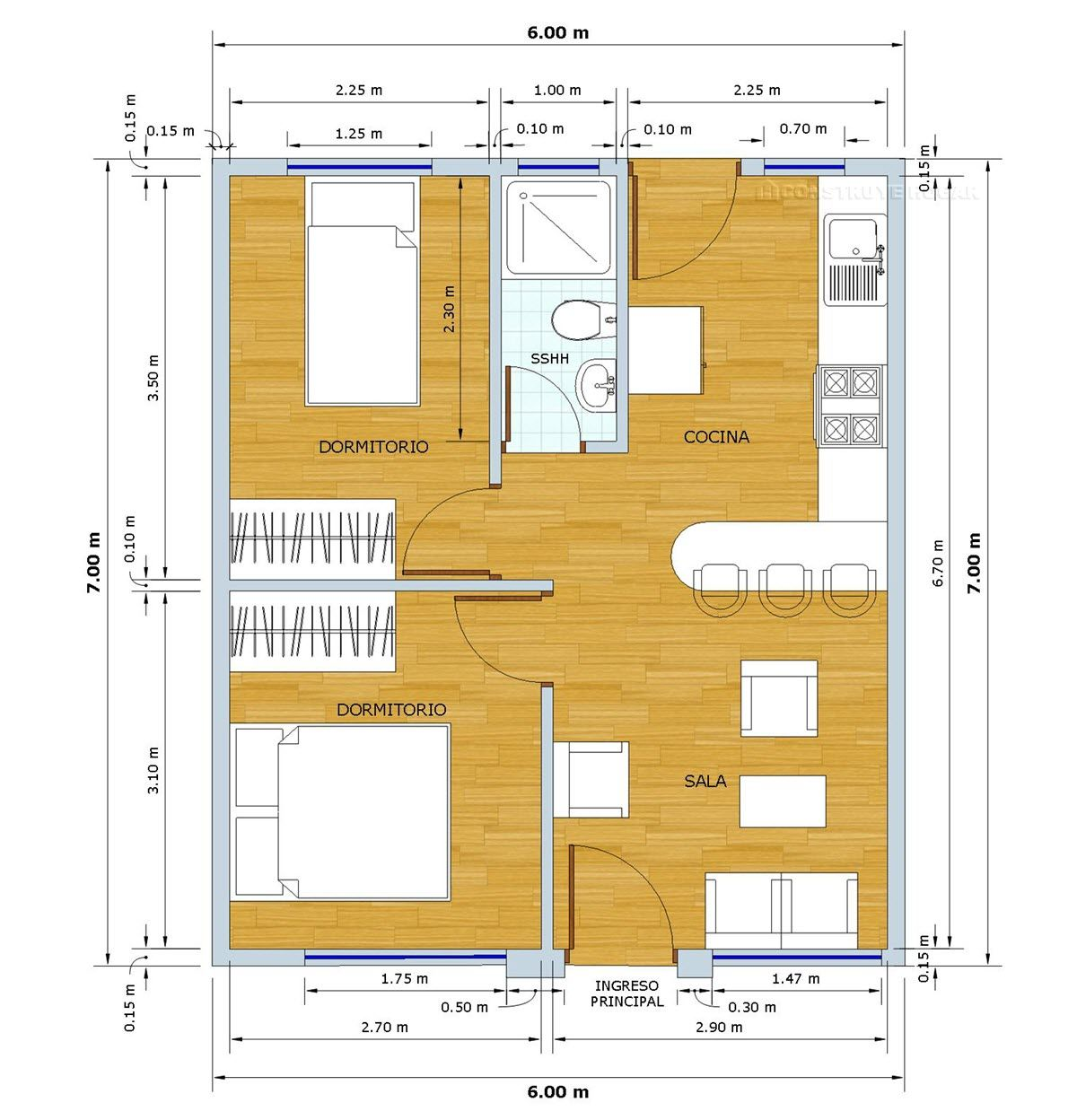 Planos de casa peque a de 42 metros cuadrados con moderna for Casas modernas de 80 metros