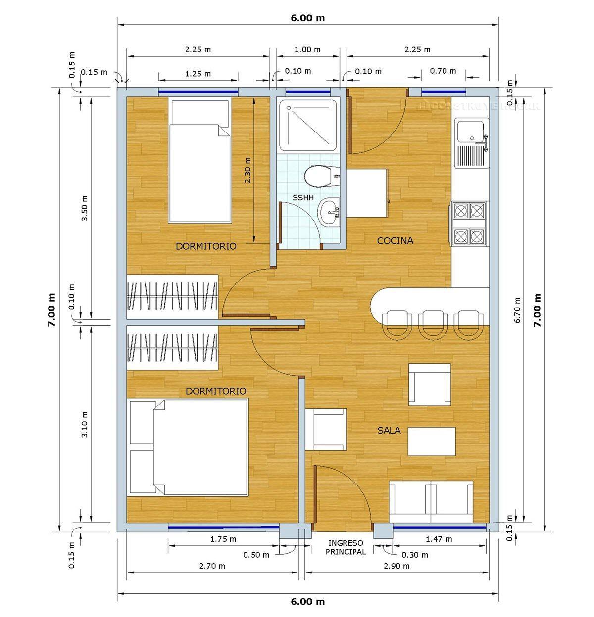 Planos de casa peque a de 42 metros cuadrados con moderna for Dormitorio 15 metros cuadrados