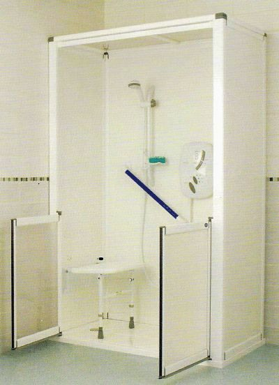Self Contained Low Access Leak Free Disabled Shower Pod Complete With Leak  Free Wall Panels. No Tiling Required.