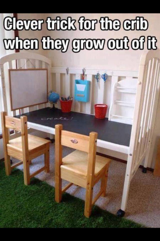 Convert crib to a children\u0027s desk DIY I might Dare to try
