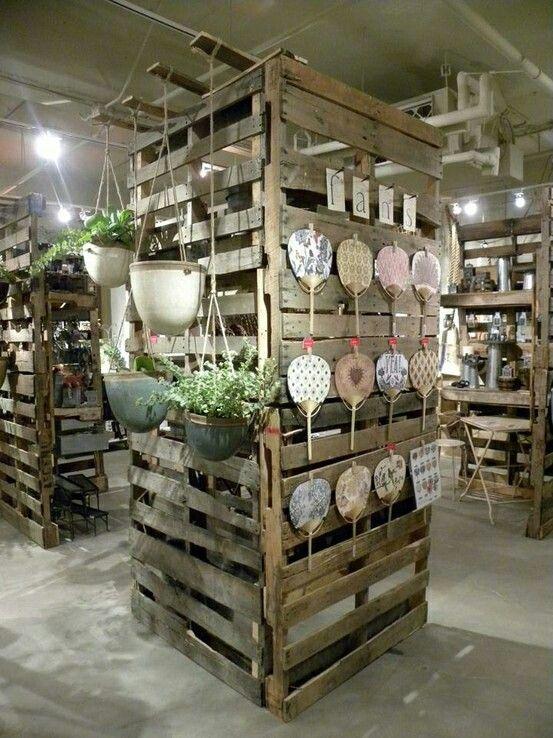 Pallet display wall | Pallet display, Garden center ...