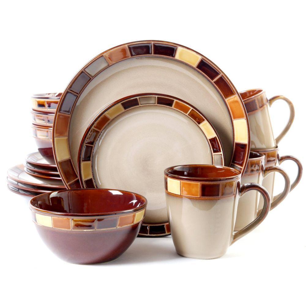 dinnerware set  piece plates bowls kitchen service banquet  - dinnerware set  piece plates bowls kitchen service banquet stoneware brown
