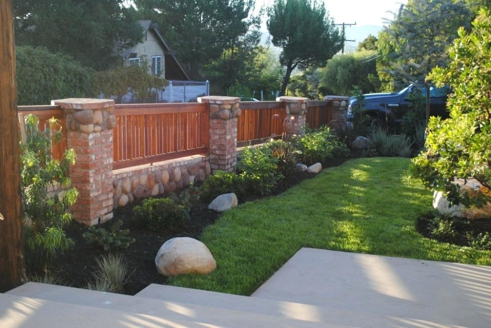 Brick Fence Cost Wonderful Brick Wood Fence Best Design For You Brick Fencing Cost Per Square Metre With Images Front Yard Fence Fence Design Brick Fence