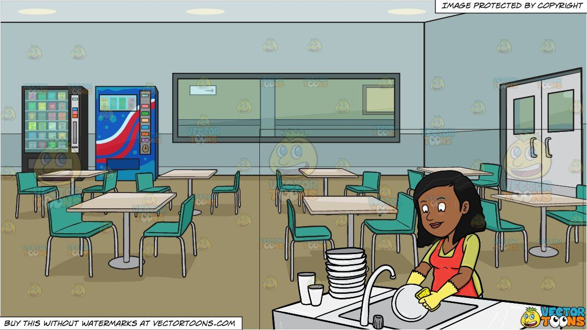 A Black Woman Washing The Dishes And Employee Lunch Room In An