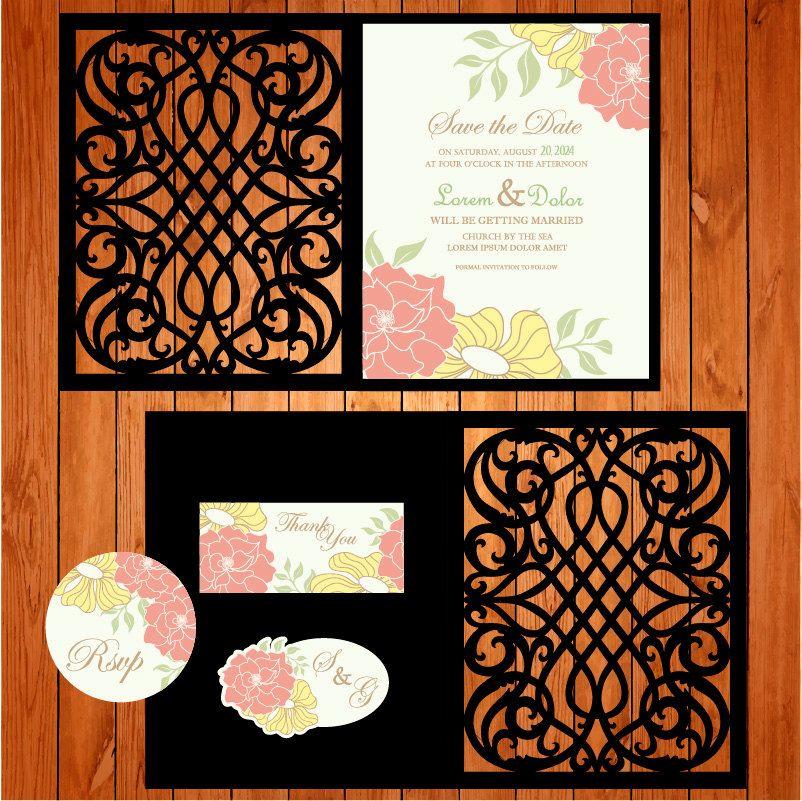 Wedding Invitation Card Template, Arabesques, Figurines