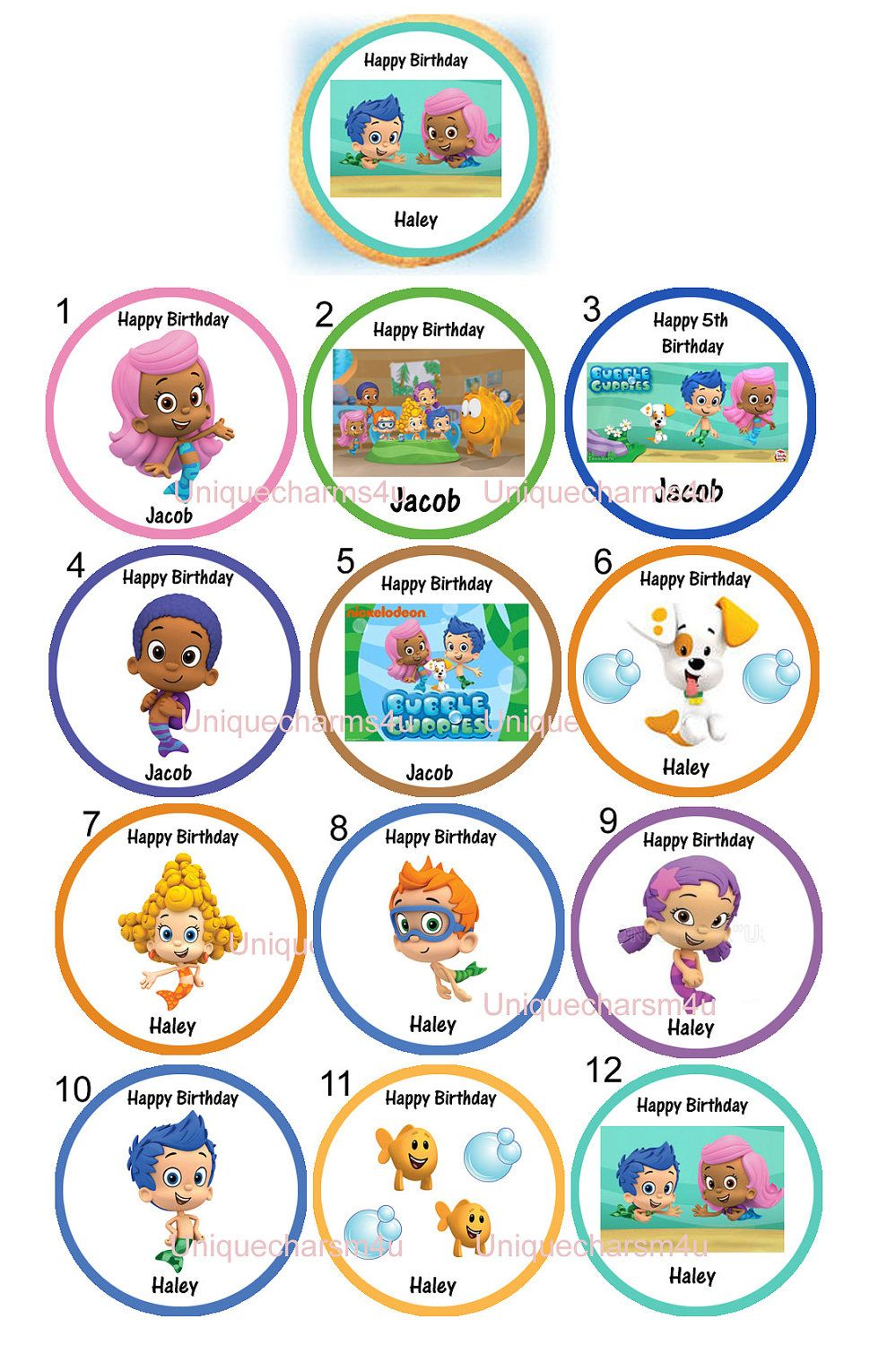 bubble guppies photo edible cookie cupcake tops birthday party