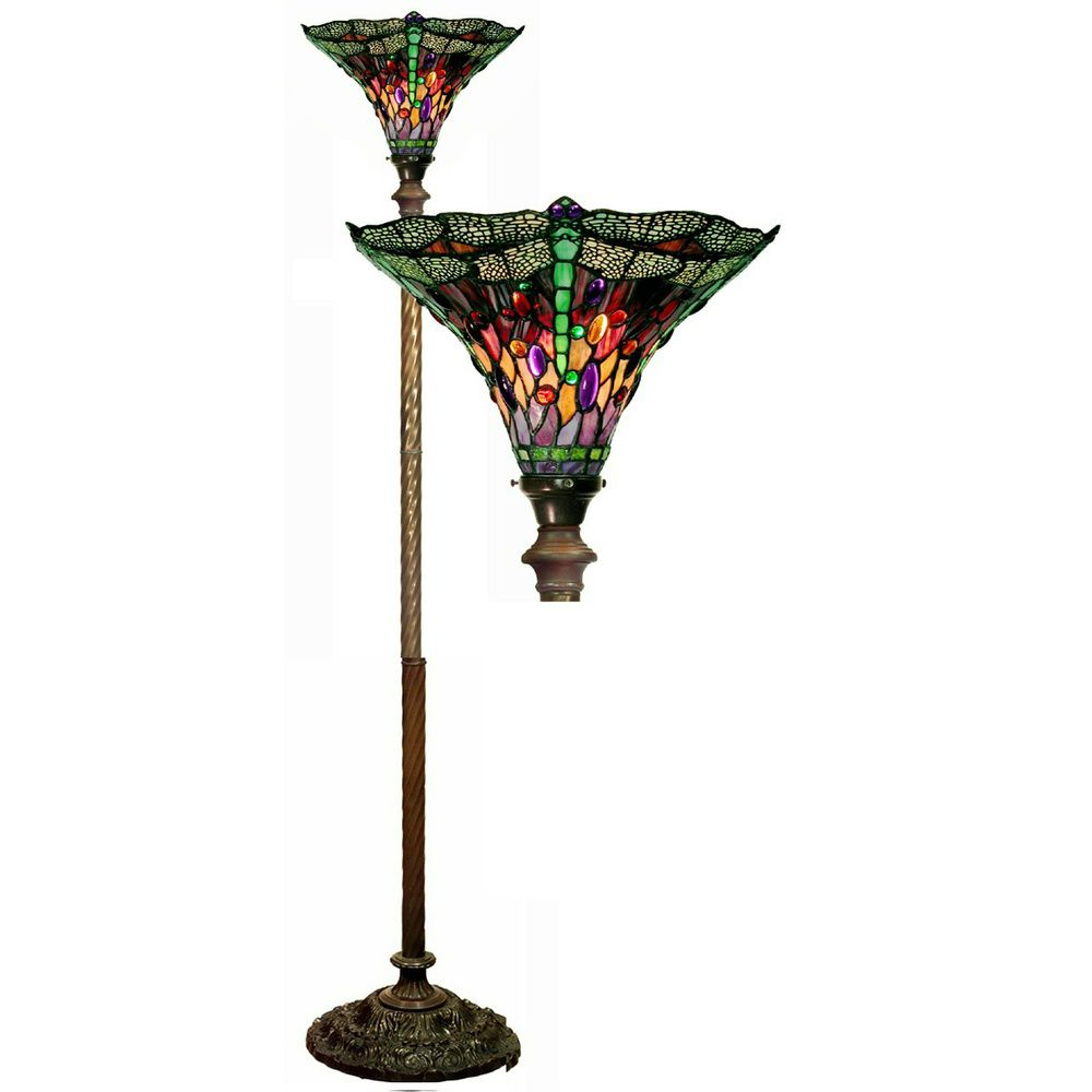 Tiffany Style Dragonfly Red Purple Torchiere Lamp