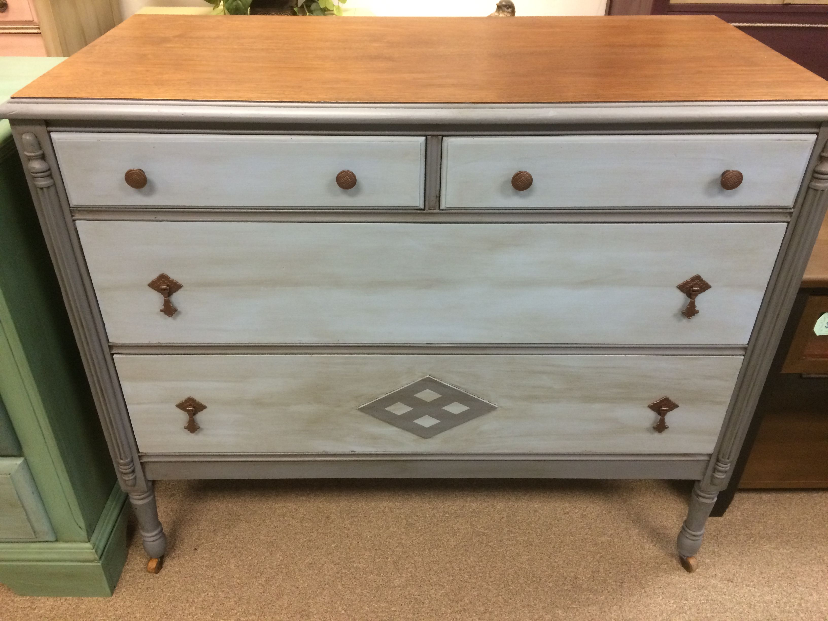 Antique Chalk Painted Dresser In Shades Of Blue Grey And Deep Waxed Top Was Left Natural Wood As It Chalk Paint Dresser Painted Dresser Chalk Paint Furniture [ 2448 x 3264 Pixel ]
