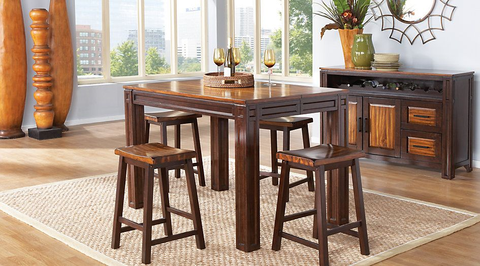 Adelson Chocolate 5 Pc Counter Height Dining Room  Dining Room Awesome Height Dining Room Table Review