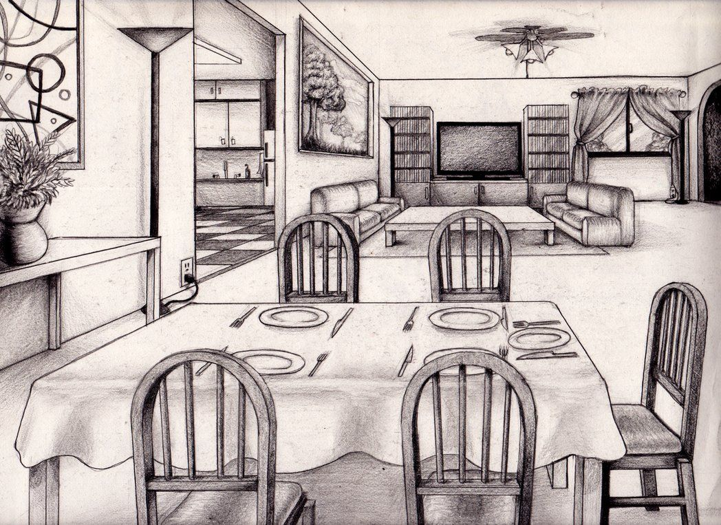 One point perspective living room drawing - 1 Point Perspective Room 04