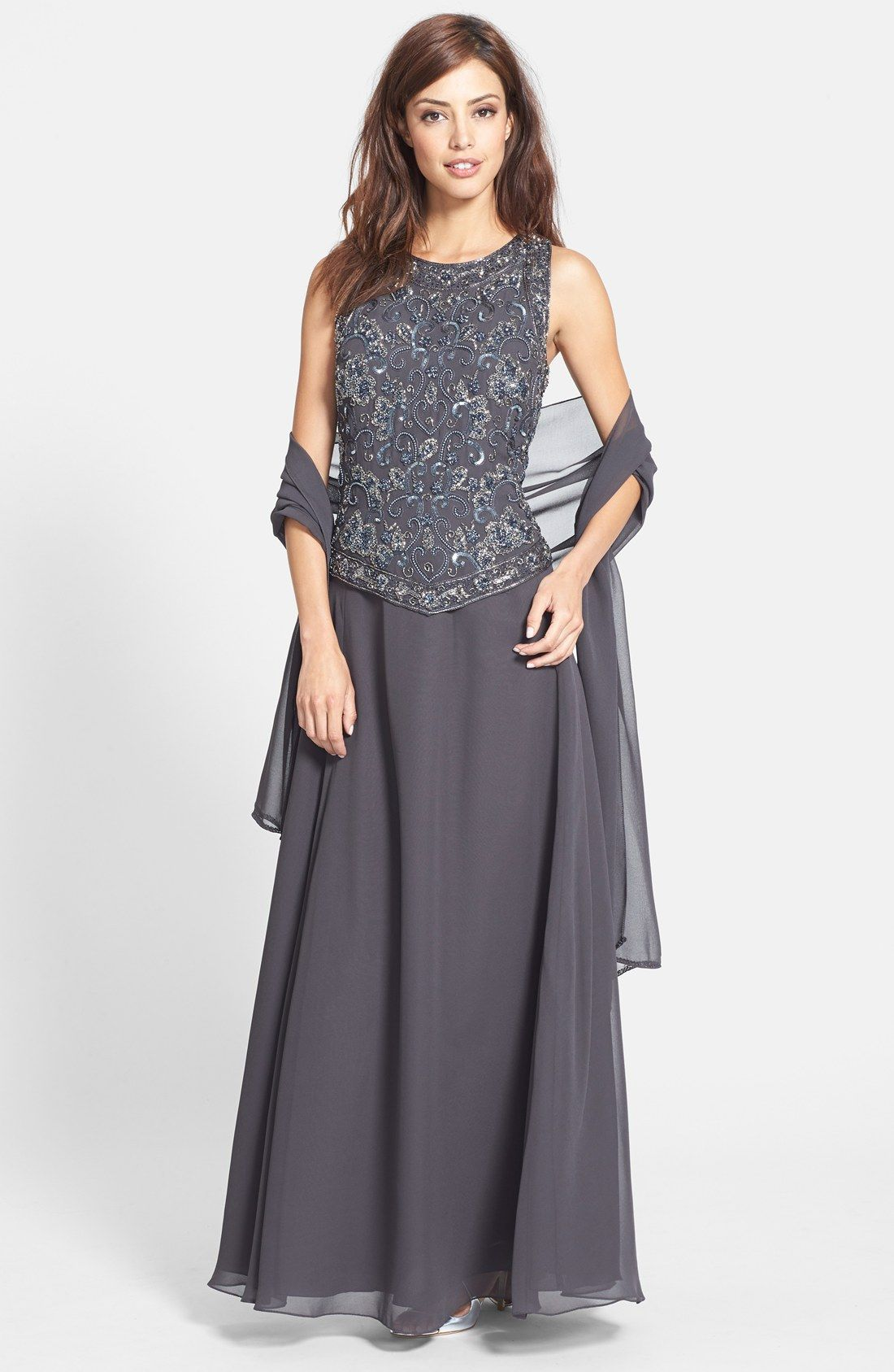 Mother of the bride dresses beach wedding  J Kara Embellished Chiffon Gown with Shawl  recipes  Pinterest
