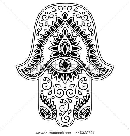 Vector hamsa hand drawn symbol hamsa pinterest - Coloriage main de fatma ...