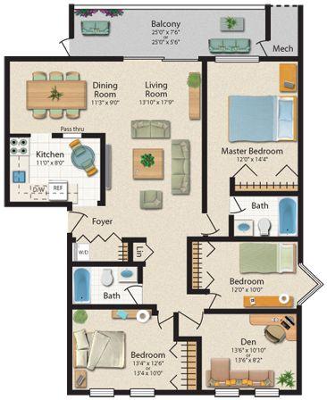 3 bedroom 2 bath 1360 sq ft unit twin ridge apartments - 3 bedroom apartments in baltimore ...