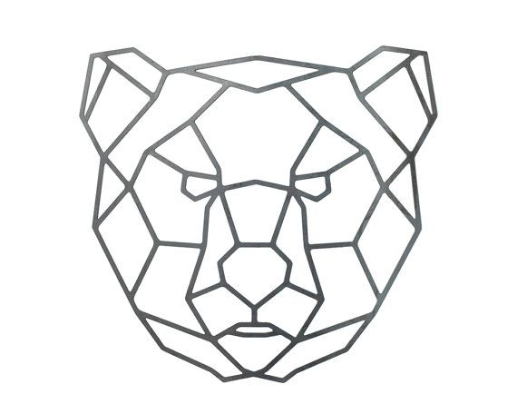 Items Similar To Steel Geometric Bear Wall Art