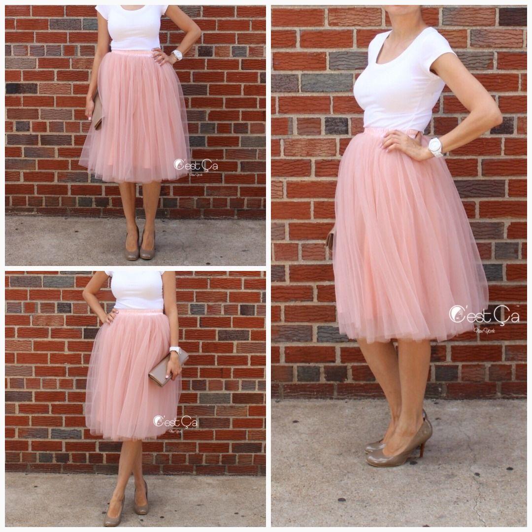 8f4d78fc04 Colette Gray Pink Soft Tulle Skirt - Midi #skirt #tulle #tutu #whimsical