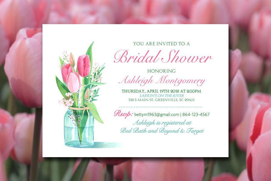 Bridal Shower Invitation Template Mason Jar Bridal