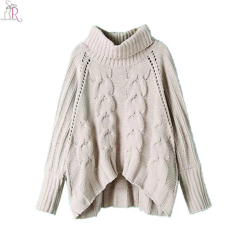 Knitting Patterns Womens Turtleneck Sweaters : US USD37.80 -- Gray Long Sleeve Turtleneck Pullover 2017 Women Fall Winter Warm...