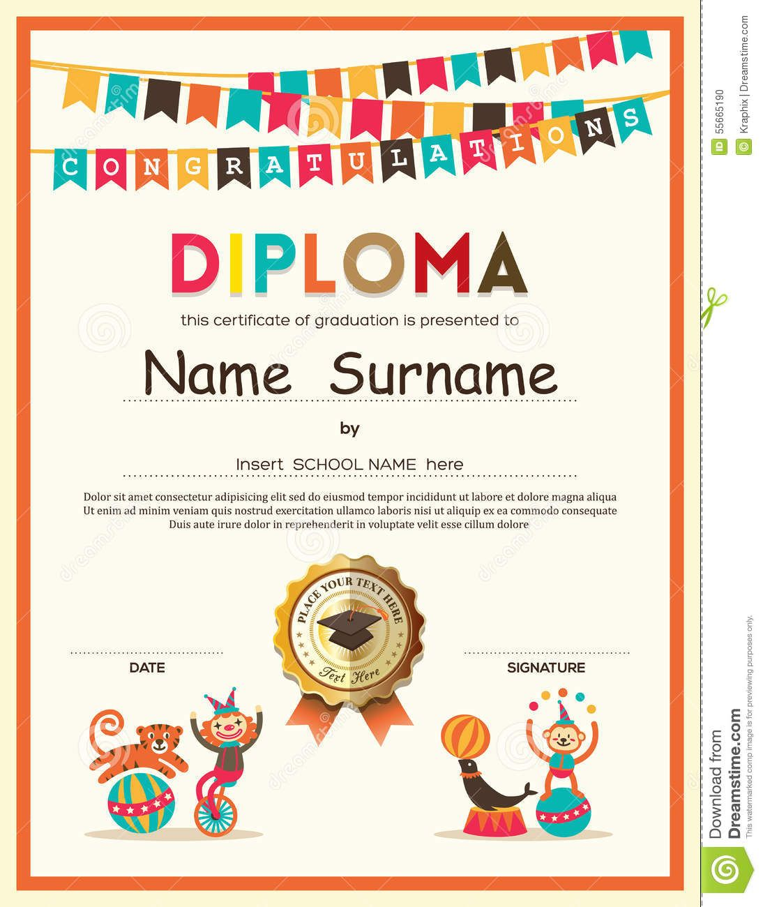 Preschool elementary school kids diploma certificate background photo about preschool elementary school kids diploma certificate template with bunting flags background design 55665190 yadclub Gallery