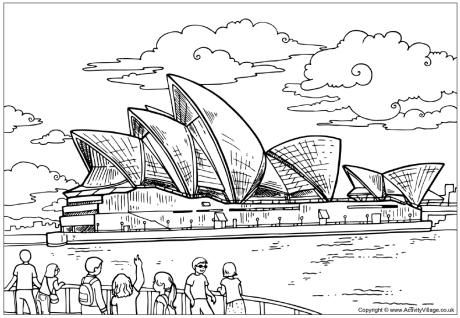 Sydney Opera House colouring page. Free printable