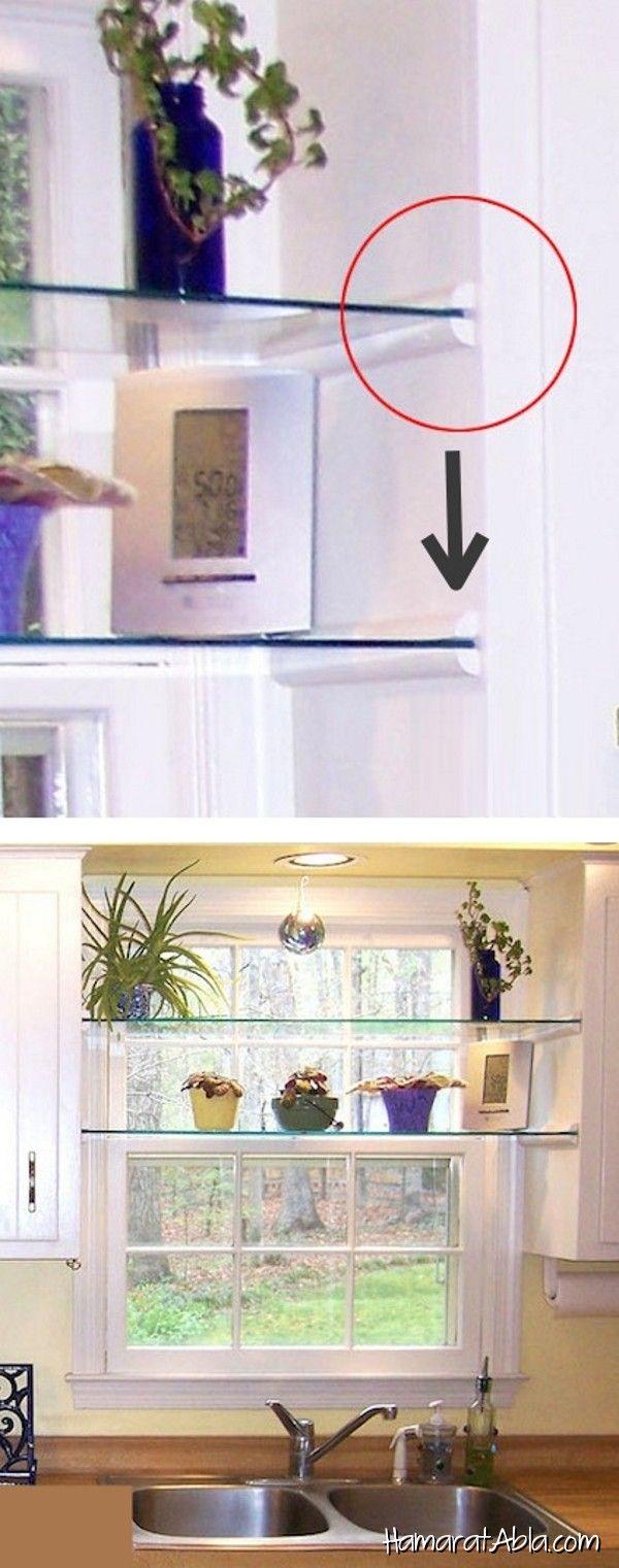 Shelf over kitchen window   kolay tadilat fikri İle evinizin görünümünü değiştirebilirsiniz