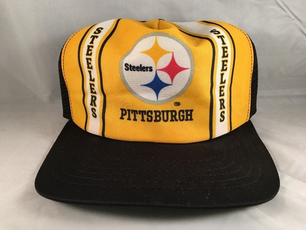 8f2ce7b68 Vintage PITTSBURGH STEELERS Mesh Trucker Snapback Hat Cap NEW ERA ...