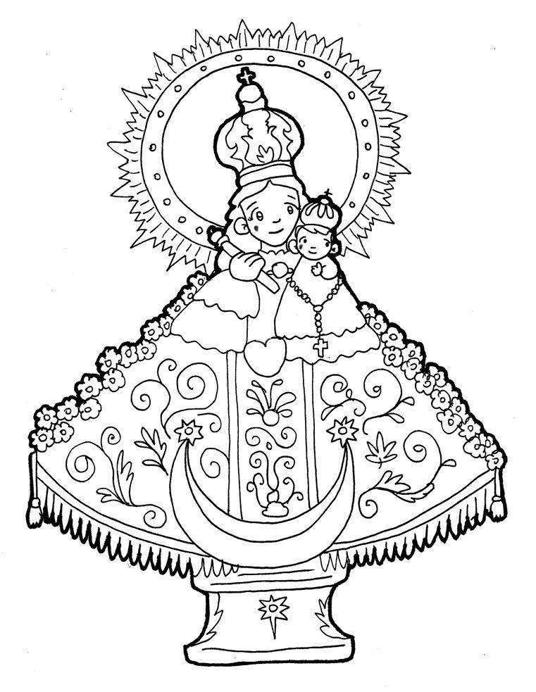Para Colorear Dibujos De La Virgen Del Rosario