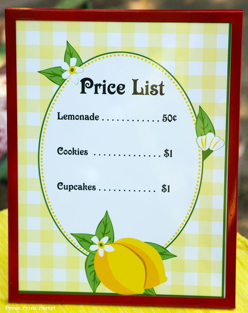Free Lemonade Stand Printables And Ideas Press Print Party Lemonade Stand Sign Kids Lemonade Kids Lemonade Stands