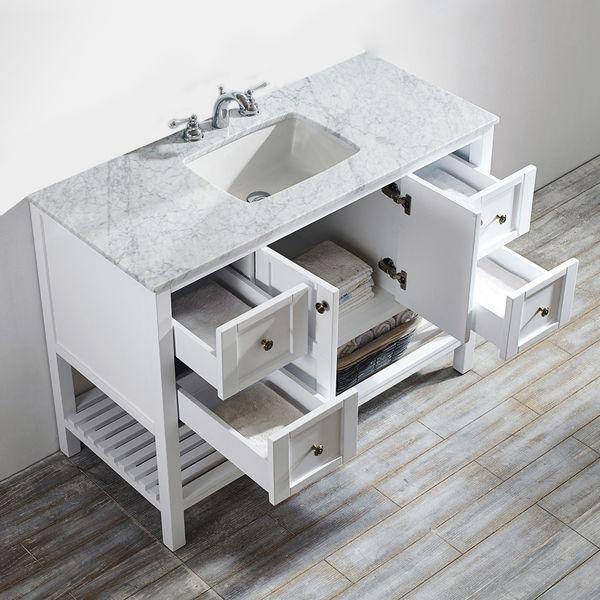 Vinnova Florence 48 Inch White Mirrorless Single Vanity