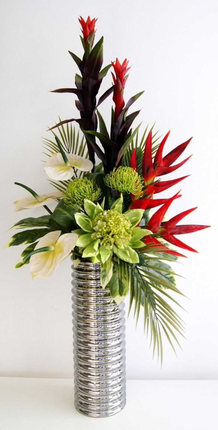 Home Decoration Fabulous Red Artificial Fl Arrangements With Spiral Vase Decorative For Inviting Interior Decor