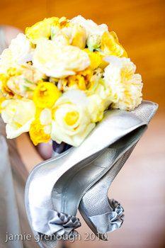 Wedding, White, Bouquet, Yellow, Silver, Shoes, Bridesmaid, Grey