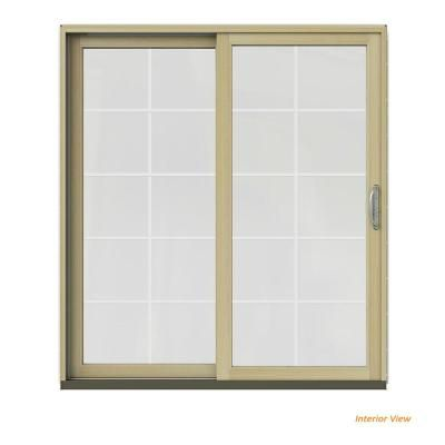 Jeld Wen 72 In X 80 In W 2500 Contemporary Vanilla Clad Wood Left Hand 10 Lite Sliding Patio Door W Unfinished Interior White Sliding Patio Doors Patio Doors Interior Wood Stain