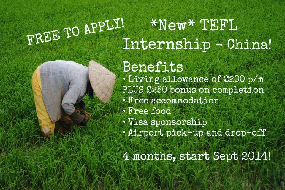 **TEFL Internship in China** Recruiting for Sept 2014 and