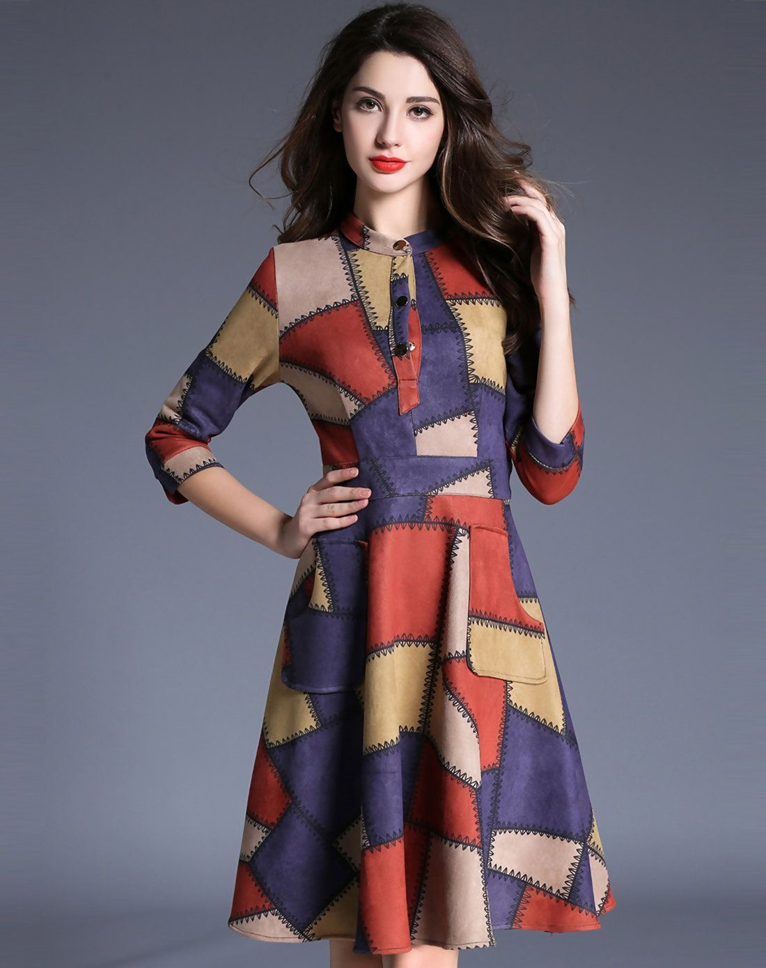 Printed half sleeve sheath a line short dress
