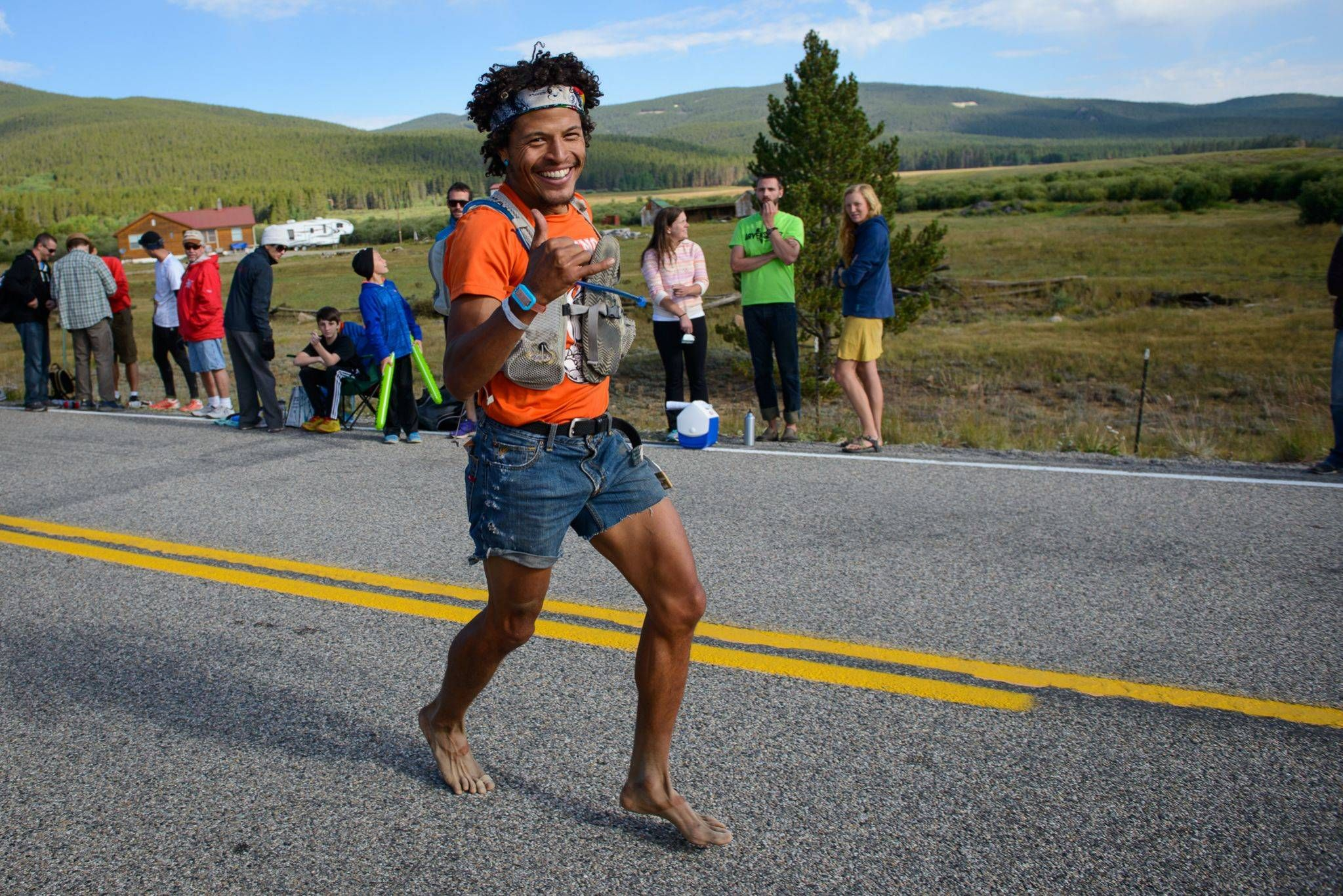 Ran the Leadville 100 mile trail race in jorts and barefoot. Impressive smile