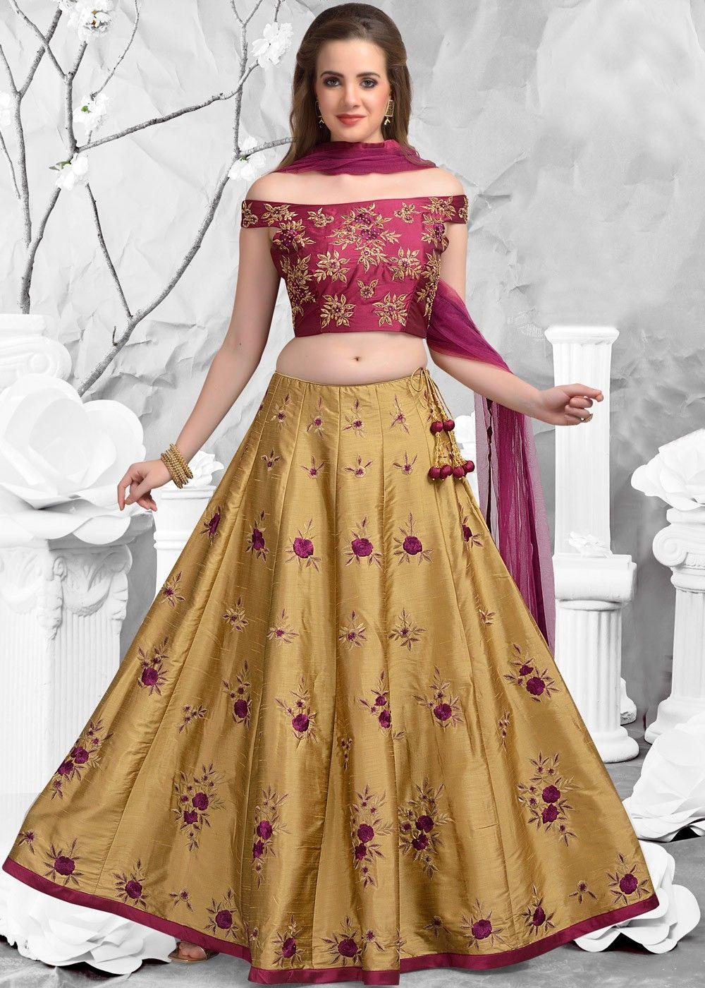 68f555114c Beige #Silk #Lehenga with Off Shoulder #Choli & #Dupatta   Suits ...