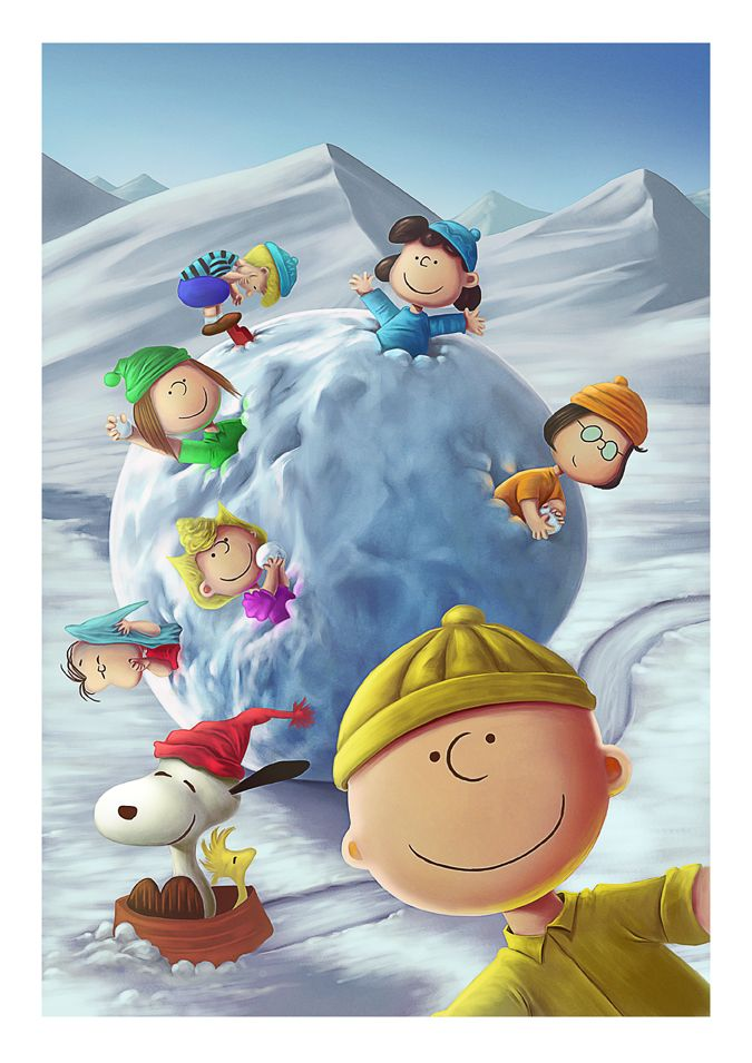 Peanuts gang in giant snowball