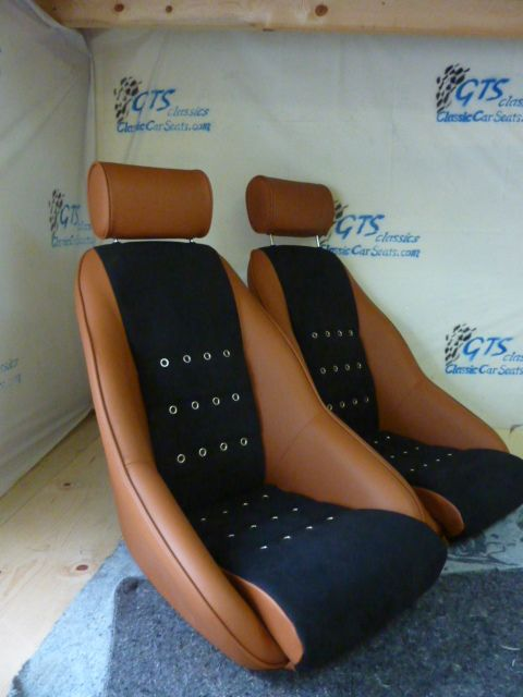 """Sebring"" seats in tan leather with Alcantara centers and grommets Custom seats …"