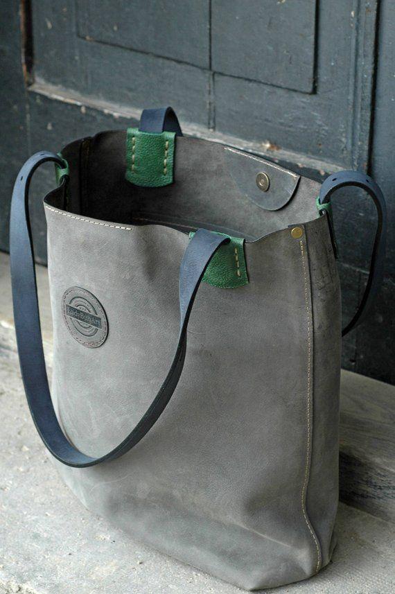 Bolso de cuero hecho a mano de gran tamaño gris estilo hobo vintage Bolso de mano Zuza Bolso para portátil Bolso de cuero de gran tamaño Bolso de cuero Bolso de cuero hecho a mano