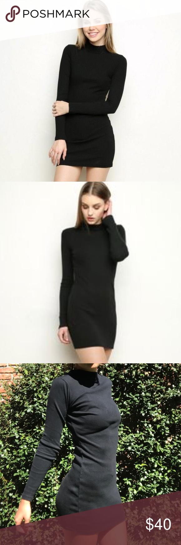 Brandy melville black menina turtleneck dress rare and sold out has