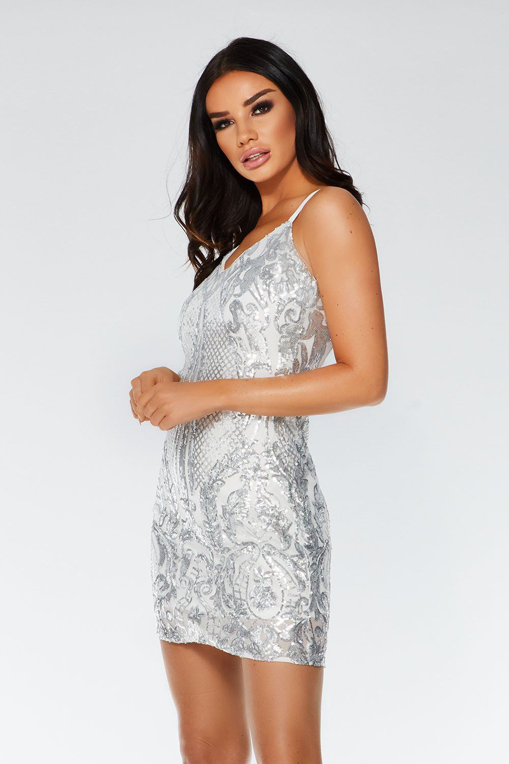 Quiz White And Silver Sequin Bodycon Dress Bodycon Prom Dresses Silver Bodycon Dresses Dresses [ 1500 x 1000 Pixel ]