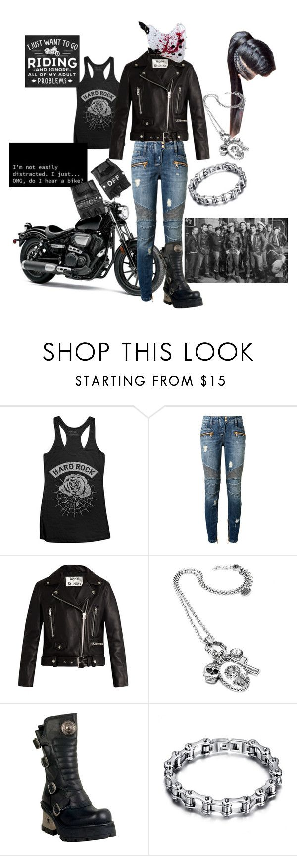 """Biker Woman"" by cassie-goats ❤ liked on Polyvore featuring Balmain, Acne Studios, New Rock and Funk Plus"