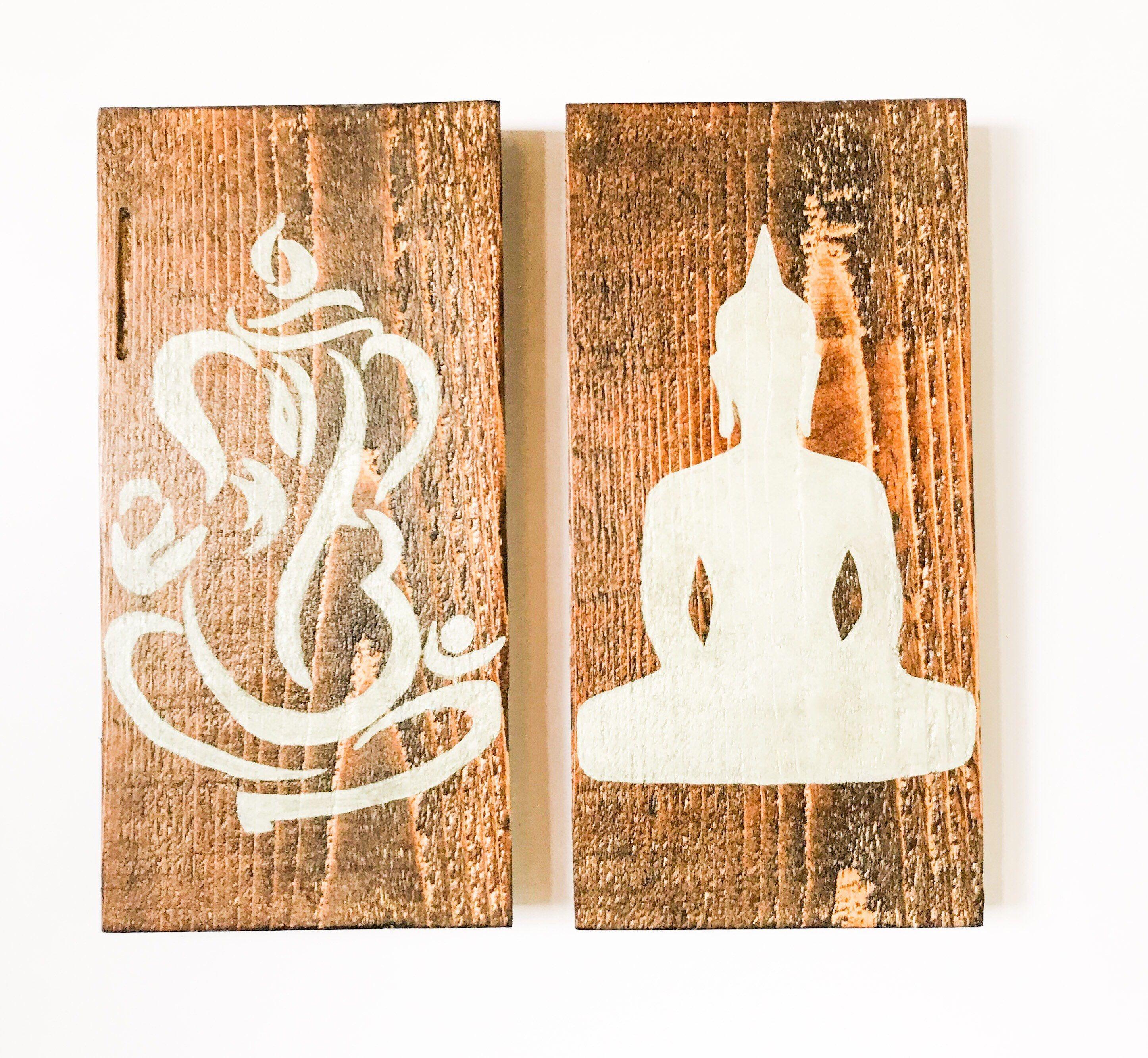 Ganesha The Buddha Wall Art On Wood Ganesh Gautama Buddha Set