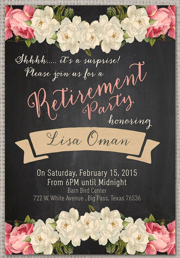 Surprise Retirement Party Invitation Template Free  Mom